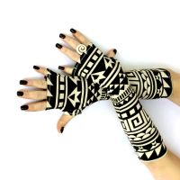 Black and Off White Tribal Fingerless Gloves by WearMeUp