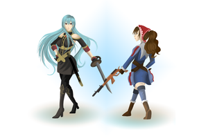 valkyria chronicles selvaria and alicia by rainELL