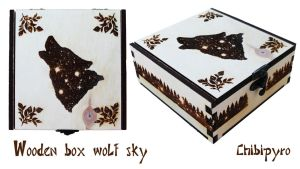 Wooden box wolf sky by ChibiPyro