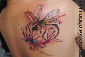 Dragonfly  lotus watercolor tattoo by dopeindulgence