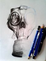 Apocalyptic Gas mask design for a tattoo WIP by Daviddleonluis