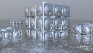 Cube in Water by gfx-micdi-designs