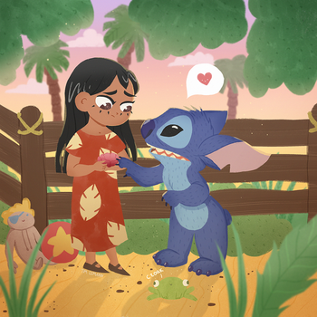 Lilo and Stitch fan art comm by Lemanntim