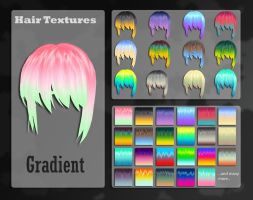 MMD Gradient Hair Texture by Xoriu