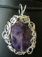 Amethyst and silver spirals by BacktoEarthCreations