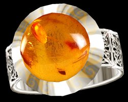 Aletheia Silver Ring with Amber by LilipilySpirit