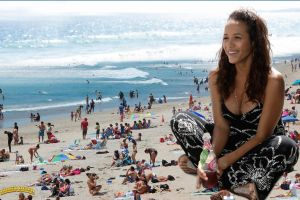 Giantess Dania Ramirez at beach by lowerrider