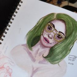 Freckles ,green hair and glasses by Aderian01