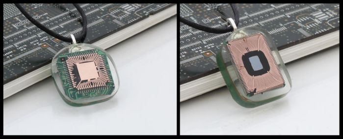 Exposed computer chip pendants by Xerces