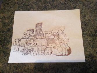 Custom Sketched Minecraft Wrapping Paper by NekoBat