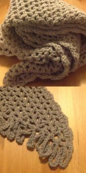 Grey Crocheted Shawl by Enira