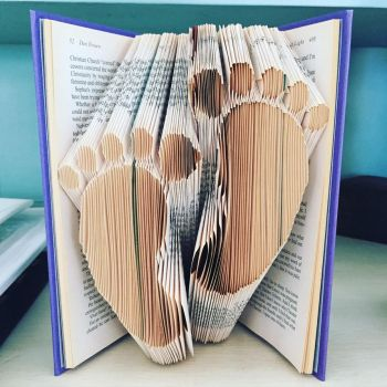 Folded Book Art - Baby Feet by jewelia2