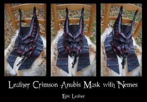 Commission: Crimson Leather Anubis Half Mask by Epic-Leather