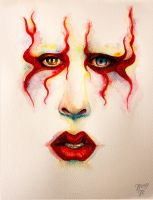 Marilyn Manson, waterpainting by Tressytc
