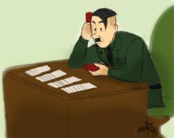 Hitler playing Solitaire by Spookaboo
