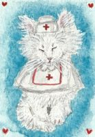 Nurse Fluff  kitten cat  watercolor  ACEO painting by tulipteardrops