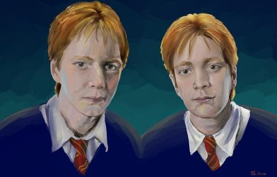 Fred and George Weasley by sugarbearkitty