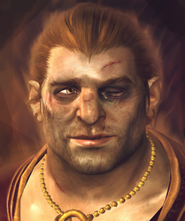 Varric Tethras model edit portrait by Kaeriah
