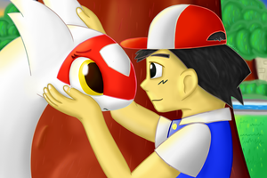 Ash and Latias - Reunion by AzuLatios