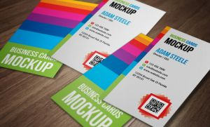 Free PSD: Verticle Business Cards Mockup by thearslan