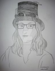 Steampunk girl - portrait drawing Aethercircus