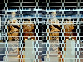 The Paper Cutout Screened Statuary Window by aegiandyad