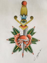 Old school dagger with a rose by CrYpToZ