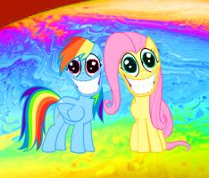 MLP Rainbow Dash and Fluttershy tripping by andrewtodaro