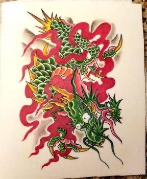 Traditional Dragon Tattoo Designs Colored!! by Halasaar01
