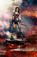 DAWN OF JUSTICE (2016) Wonder Woman Poster Recolor by Domnics