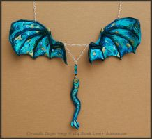 Chrysocolla Dragon Wings - Leather Necklace by windfalcon
