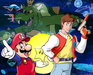 Captain N and Super Mario Bros Crossover Poster by AnimeJason2010