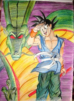 Goku and Shenron by SiriEss