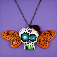 Butterfly Sugar Skull Necklace by True-Crimeberry