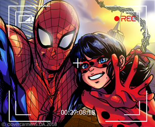 The Amazing Spider Man and Miraculous Lady Bug by clovercarmen5
