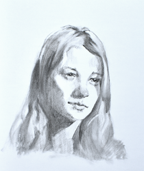 charcoal portrait young mother with video by Neivan-IV