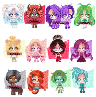 [OPEN Adopts] Chibi Zodiac Signs (7/12) [Auction] by Jaska610