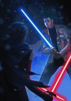 Finn VS Kylo Ren Star Wars The Force Awakens by junkisakuraba
