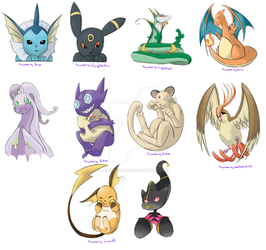 [Pokemon] First round_Straps or charms by Takeowalker