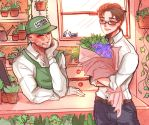 Flower Shop AU Spideypool by NanakoBlaze