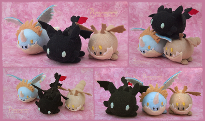 Custom TsumTsum style Toothless, Stormfly, Meatlug by Piquipauparro