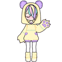 Pastel Girl in Bear Hoodie by Rosemoji
