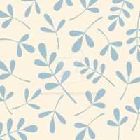Assorted Leaves Blue on Cream by NatPaskell