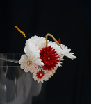Crane (Tsuru) and Chrysanthemum Tsumami Kanzashi by japanesesilkflowers