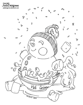 Cocoa and Snowman - Lineart by JadeDragonne