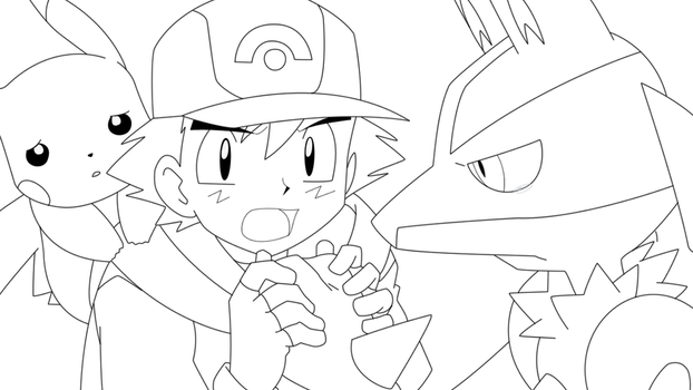 Ash and Pikachu 1 (with Lucario) Lineart by BlueYusei