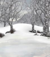 Winter forest background by indigodeep