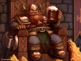 Dwarf king and some beer by ArtDeepMind