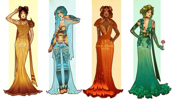 Pokemon Costume Designs: Starters by Hannah-Alexander