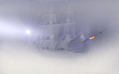 Pirate Ship In  Fog2 by dreamer474